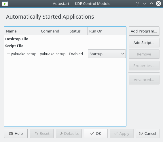 KDE's Automatically Started Applications